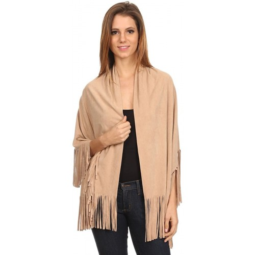 LL- Chic Ladies Buff Faux Suede Shawl No Armholes Shoulder Wrap with Tassels at Women's Clothing store