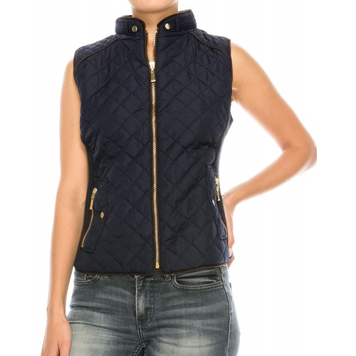 Nolabel Womens Lightweight Quilted Padding Zip Up Vest Jacket Suede Piping with Pocket at  Women's Clothing store