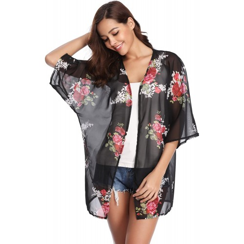 Abollria Womens Floral Print Sheer Chiffon Kimono Cardigan Blouse Loose Beach Cover up Black at  Women's Clothing store
