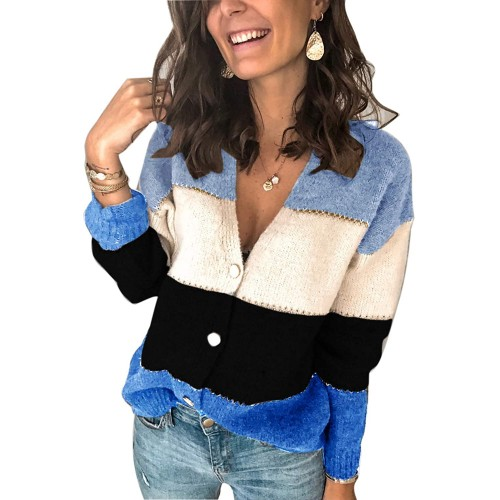 Alaster Women's V Neck Cardigan Sweater Casual Open Front Button Down Short Cardigan Long Sleeve Sweater Tops for Women at  Women's Clothing store