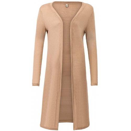 Amazhiyu Wool Blend Ribbed Open-Front Duster Cardigan Long Sleeves Knit Sweater at  Women's Clothing store