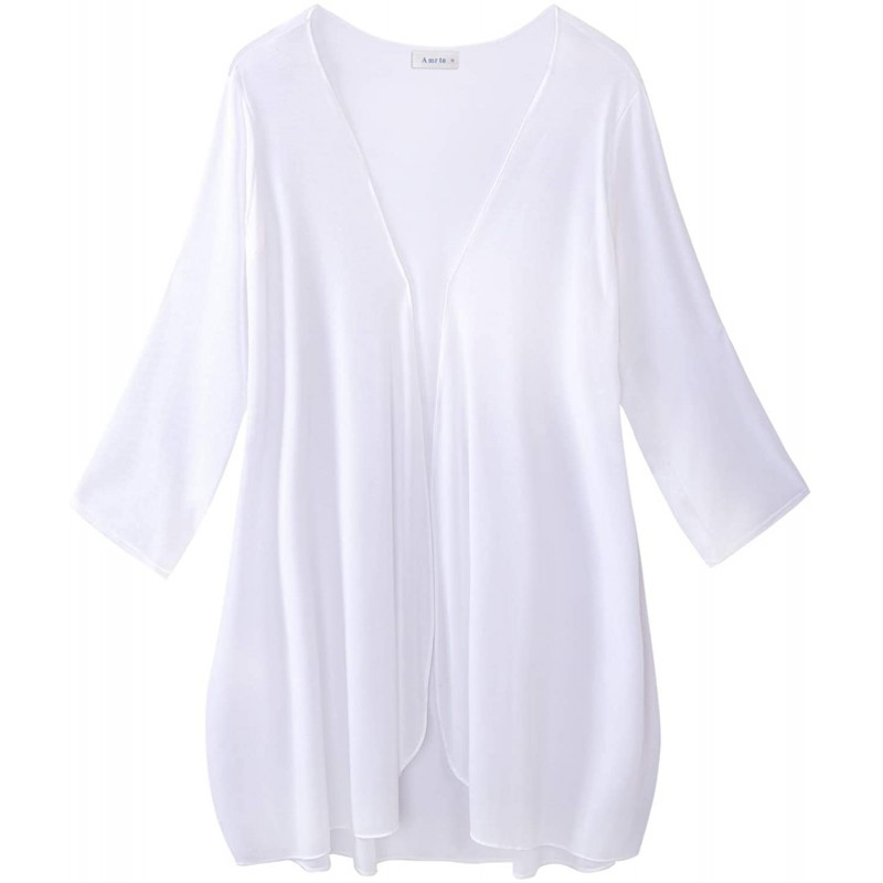 Amrto Women's Lightweight Open Front Cardigans Long Sleeve Drape Chiffon Summer Cover Up at Women's Clothing store