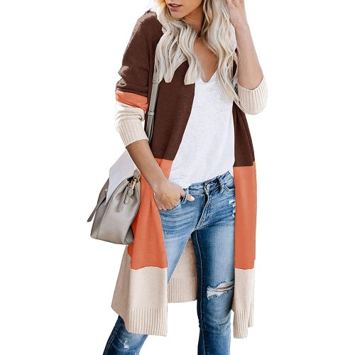 AUSELILY Womens Long Cardigan Sweaters Long Sleeve Lightweight Color Block Knit Open Front Sweaters Coat at Women's Clothing store