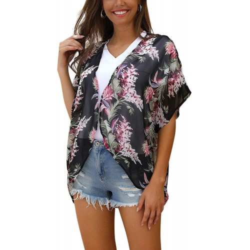 Blooming Jelly Women's Chiffon Cardigan Short Sleeve Lightweight Open Front Swimsuit Cover Ups at  Women's Clothing store