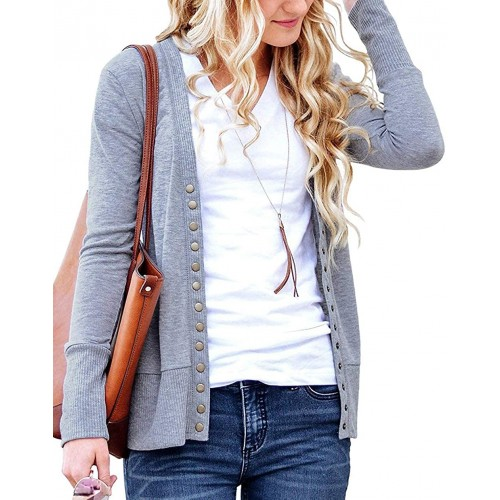 Cowear Women's S-3XL Solid Button Front Knitwears Long Sleeve Casual Cardigans Heather Grey XL at Women's Clothing store