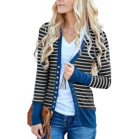 Cowear Women's S-3XL Solid Button Front Knitwears Long Sleeve Casual Cardigans Stripe Navy 2XL at  Women's Clothing store