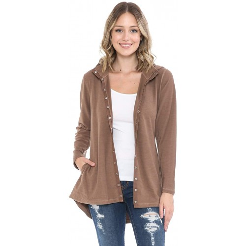 DAMOA Women's Hooded Jacket Sweater - Casual Long Sleeve Removable Hoodie Adjustable Waist Ribbed Knit Snap Button Cardigan at  Women's Clothing store