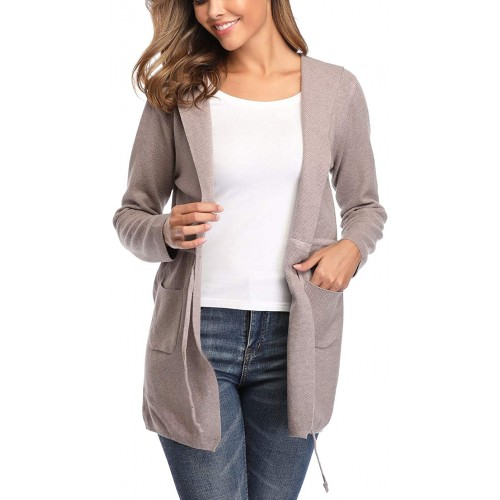 Dilgul Women's Lightweight Open Front Cardigan Long Sleeve Drawstring Hooded Pockets Coat at  Women's Clothing store