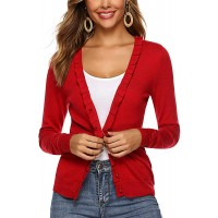 FitEase Women's Long Sleeve Flounce V-Neck Cardigan Sweater Silky Soft Sweaters with Camisol A Must-Have All Year Long at  Women's Clothing store