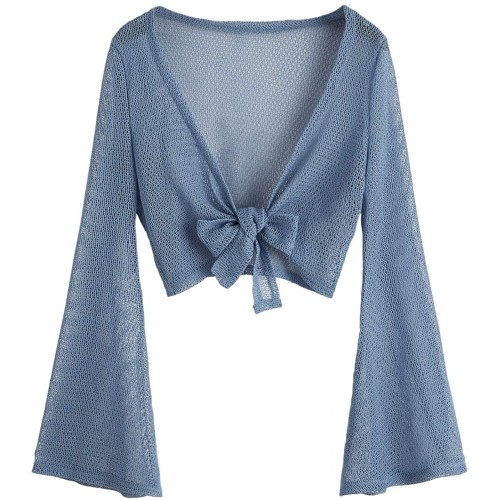 Floerns Women's Long Sleeve Front Knot Sheer Cardigan Kimono Coverup at  Women's Clothing store