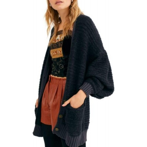 Free People Womens Button-Down Bishop Sleeve Cardigan Sweater at  Women's Clothing store