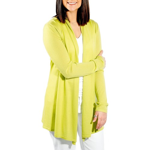 Gigi Reaume Women's Cardigan Sweater 100% Cashmere Open Front Long Cardigan Swing Style Fine Gauge Ultra Lightweight at  Women's Clothing store
