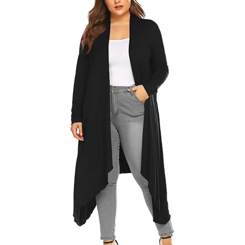 Kancystore Women's Plus Size Long Open Front Drape Lightweight Dusters Long Sleeve Maxi Cardigans with Pockets at  Women's Clothing store