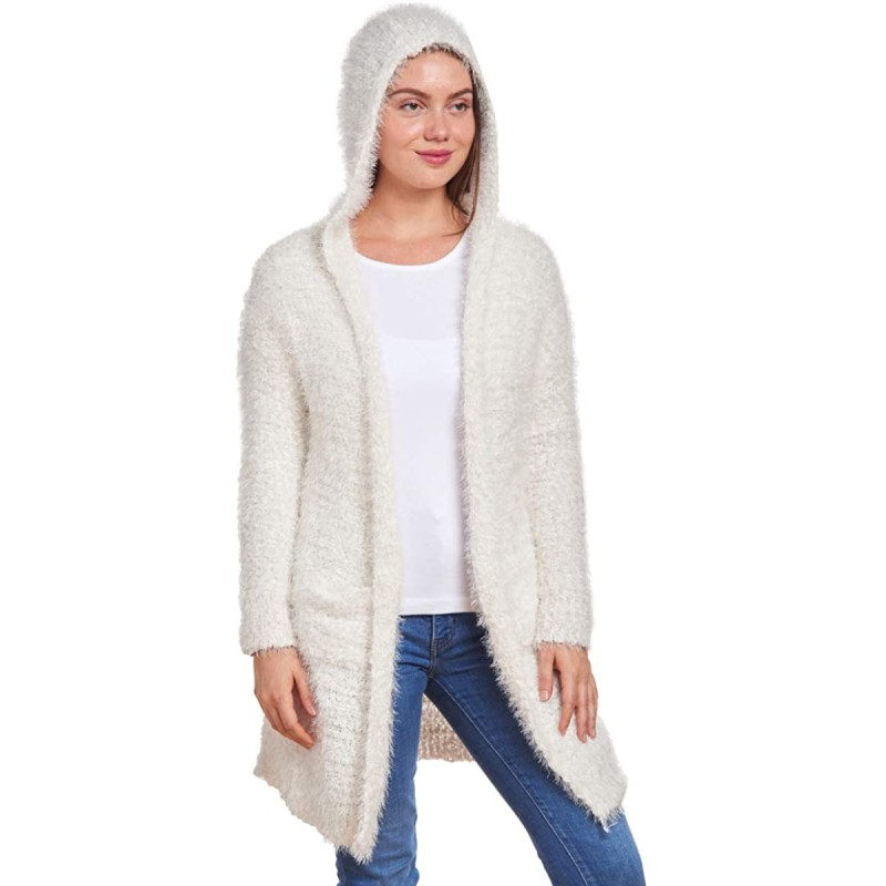 Knit Minded Soft Plush Hooded Cardigan with Pockets at Women's Clothing store