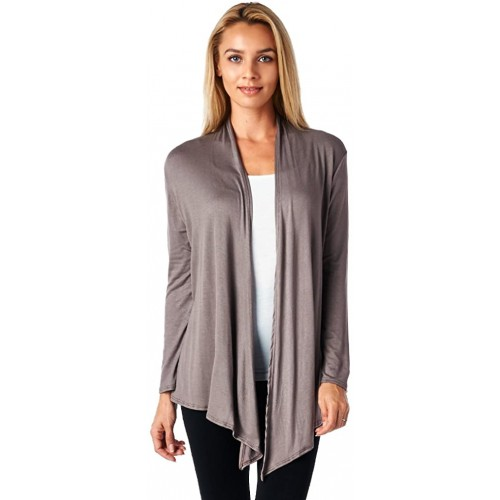 Popana Women's Open Front Drape Lightweight Cardigan Long Sleeve Made in USA Medium Toffee at  Women's Clothing store