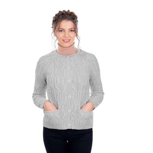SAOL Ladies Button Pockets Soft Wool Blend Knit Sweater Cardigan Grey Large at  Women's Clothing store