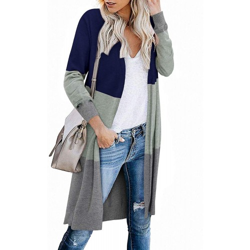 STYLEWORD Women's Open Front Cardigan Long Sleeve Color Block Knit Lightweight Sweaters Coat with Pockets at  Women's Clothing store