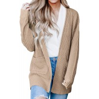 Syellowafter Women Open Front Ribbed Hem Long Sleeve Chunky Knit Cardigan Sweaters Loose Winter Fall Coat with Pockets at  Women's Clothing store