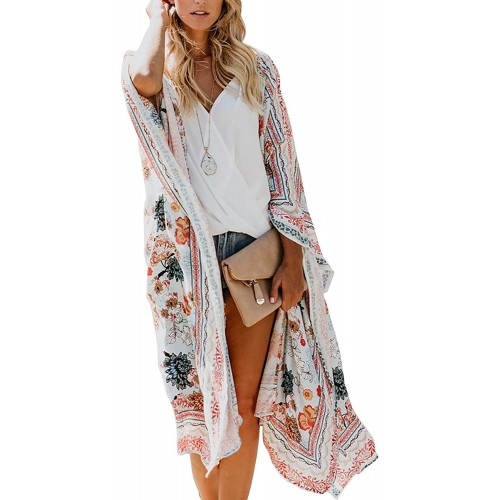 TRALOOK Womens Swimsuit Beach Cover ups Chiffon Kimono Loose Sheer Cardigan Lightweight Flowy Cover Ups X-Large at  Women's Clothing store