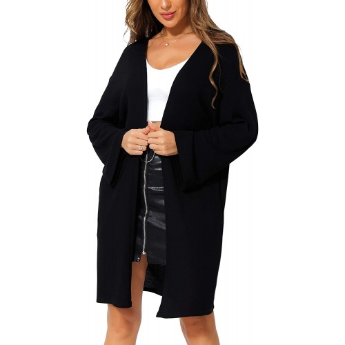 Women's Black Cardigan Sweaters for Women with Pockets Oversized Long Sleeve Open Front Cardigan Knit Kimono Sleeve Outwear at  Women's Clothing store