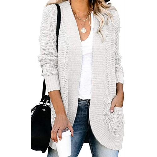 Women's Long Sleeve Open Front Chunky Warm Cardigans Pullover Sweater Blouses Ivory at  Women's Clothing store