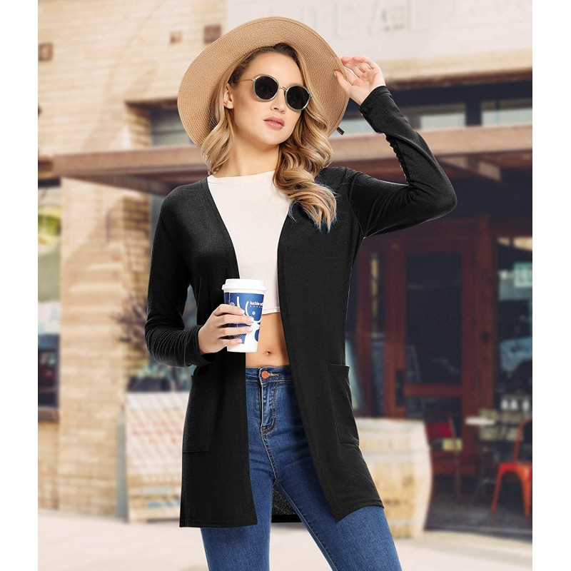 Women's Open Front Lightweight Summer Casual Cardigans with Pocket Long Sleeves Breathable Spring Loose Coat Kimono at Women's Clothing store