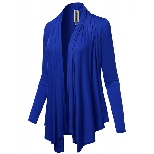 Women's Solid Jersey Knit Draped Open Front Long Sleeves Cardigan at  Women's Clothing store