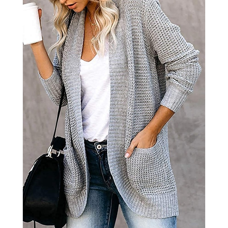Xpreen Womens Long Sleeve Open Front Cardigan Casual Lightweight Waffle Knit Sweaters Outerwear with Pockets at Women's Clothing store