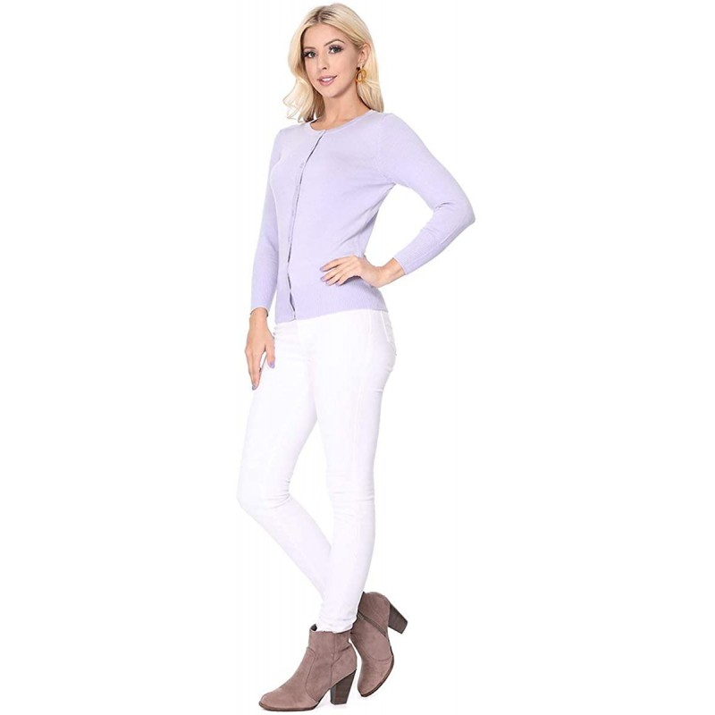 YEMAK Women's Knit Cardigan Sweater – 3 4 Sleeve Crewneck Basic Classic Casual Button Down Soft Lightweight Top S-3XL at Women's Clothing store