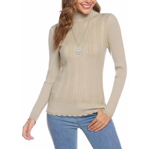 Abollria Women's Turtleneck Sweater Long Sleeve with Ribbed Slim Fit Pullover Tops at Women's Clothing store