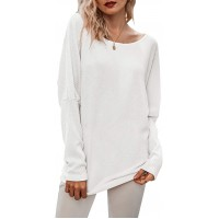Bunanphy Women Sexy Off Shoulder Batwing Long Sleeve Waffle Knit Solid Casual T Shirt Tunic Sweater at  Women's Clothing store