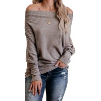 Chuanqi Womens Off Shoulder Pullover Sweater Casual Batwing Sleeve Waffle Knit Jumper Tunic Tops at  Women's Clothing store