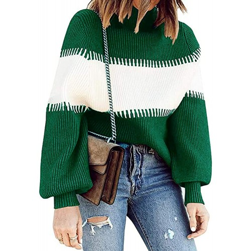 ECOWISH Women Sweater Winter Mock Neck Color Block Long Sleeve Casual Knit Jumper Basic Pullover Sweaters Tops