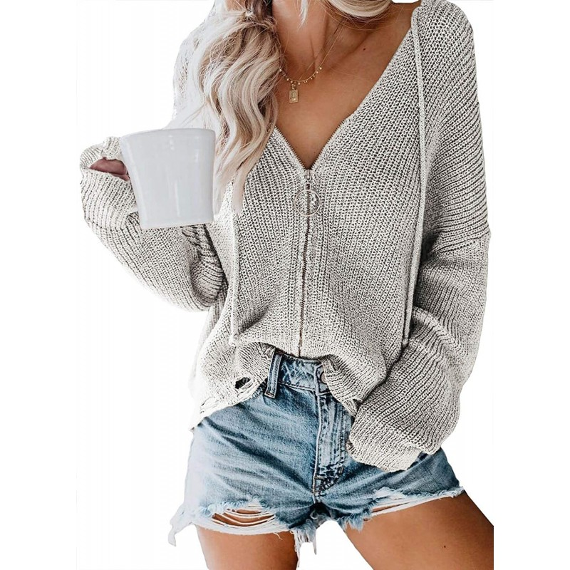 EVALESS Womens Cardigan Sweater Long Sleeve Knit Zip Up Hoodie Coat Oversized at Women's Clothing store