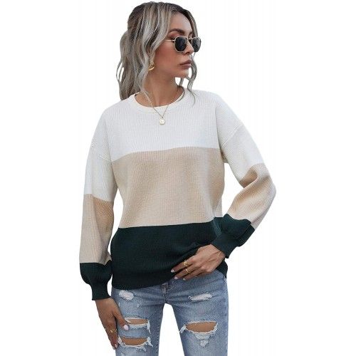 Floerns Women's Color Block Long Sleeve Round Neck Pullovers Sweater Shirt at  Women's Clothing store