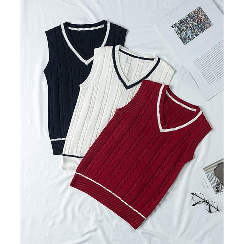 Gihuo Women's V Neck School Uniform Cosplay Twist Knit Pullover Sweater Vest at Women's Clothing store