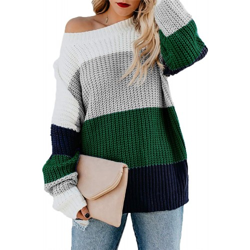 HZSONNE Women's Color Block Stripe Sweater - Cable Knit Crew Neck Long Sleeve Spring Pullover Jumper Tops at  Women's Clothing store