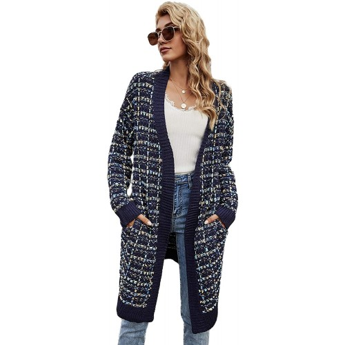 HZSONNE Womens Colorful Pocket Open Front Crochet Cable Knit Chunky Cardigan Fuzzy Sweater Pullover Coat Clubwear at  Women's Clothing store