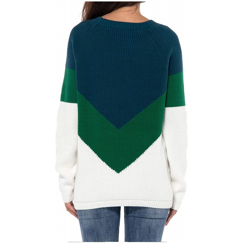 JSTEX Women's Casual Sweater Pullover Crew Neck Long Sleeve Color Block Pullover Knit Tops