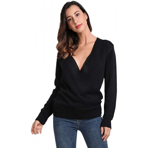 JTANIB Women's Deep V-Neck Sexy Knitted Sweater Long Sleeve Wrap Front Loose Pullover Jumper Tops