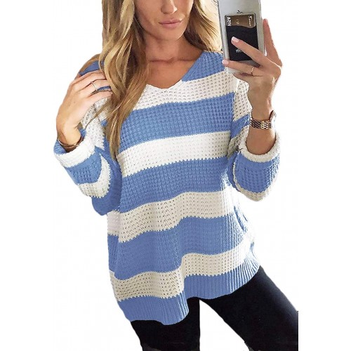 Kaei&Shi Color Block Sweater for Women Waffle Knit Striped Top Drop Shoulder Oversized Pullover Blue Small at Women's Clothing store