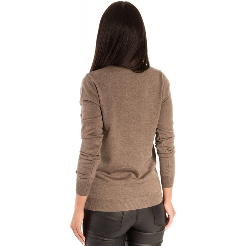 KNITTONS Women's Wool Classic Slim Fit V-Neck Sweater Pullover at Women's Clothing store
