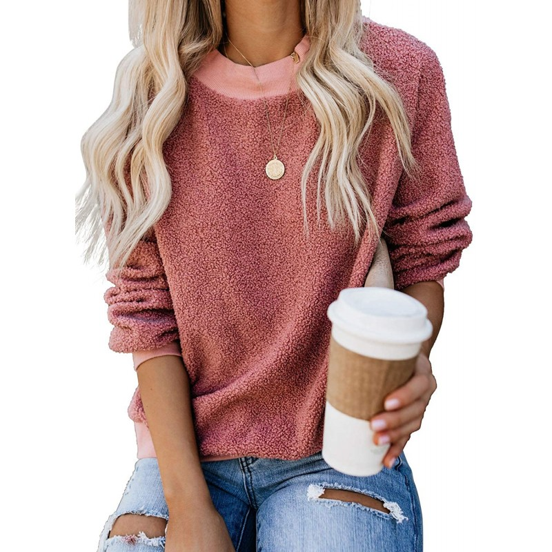 Kyerivs Womens Fuzzy Knitted Sweater Sherpa Fleece Full Long Sleeve Crew-Neck Loose Casual Pullover Jumper Outwears at Women's Clothing store