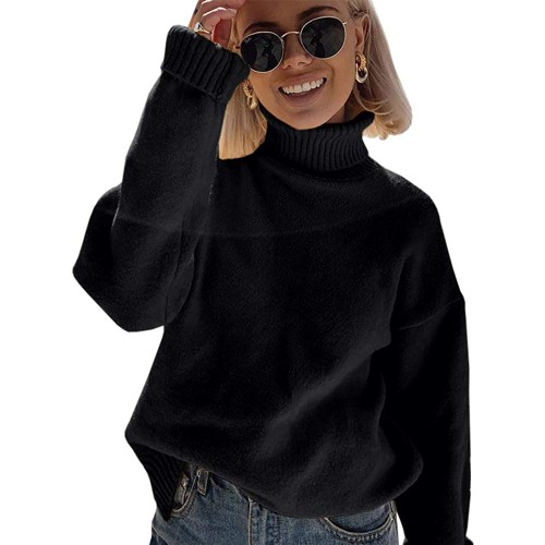 Lailezou Womens Turtleneck Oversized Sweaters Long Sleeve Pullover Loose Chunky Knit Jumper at  Women's Clothing store