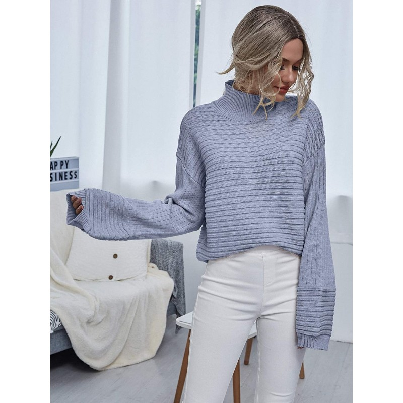 MakeMeChic Women's Solid High Neck Drop Shoulder Textured Pullover Sweater at Women's Clothing store