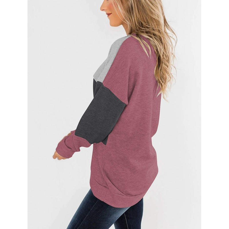 PRETTODAY Women's Long Sleeve Color Block Tops Round Neck Tunics Casual Loose Pullovers at Women's Clothing store