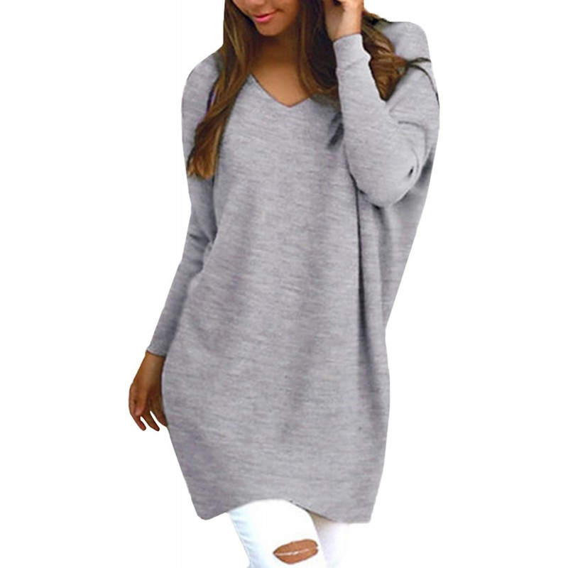 StyleDome Women's Long Sleeve V Neck Pullover Tunic Tops Casual Loose Knit Blouse