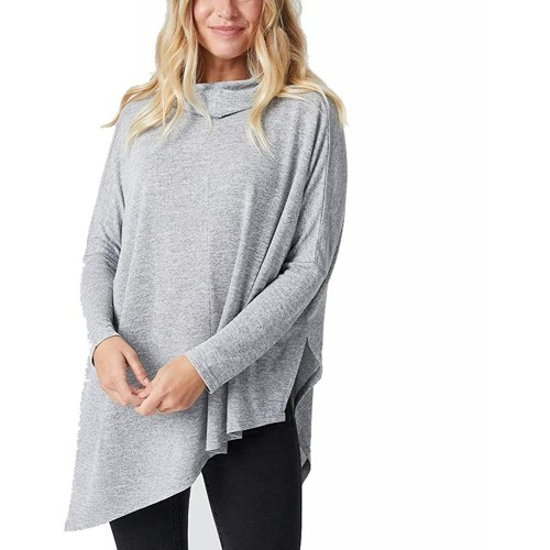 tmtonmoon Womens Long Sleeve Tunic Blouse Turtleneck Batwing Flowy Shirts Loose Pullover Tops Plain Sweater