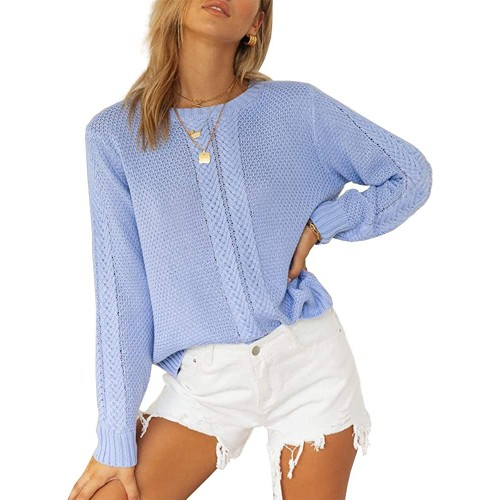 Tutorutor Womens Long Sleeve Crew Neck Crop Sweaters Tops Casual Oversized Chunky Cable Knitted Fall Jumper Pullover at  Women's Clothing store