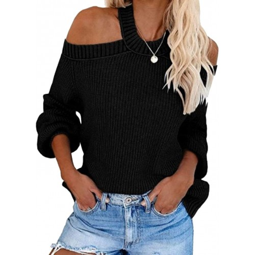 VIMPUNEC Womens Cold Shoulder Lantern Sleeve Sweaters Cable Knit Cut Out Tops Plain Open Back Tunic at Women's Clothing store